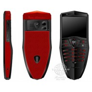 Lamborghini TL688 Stainless Steel Black PVD, Red Rubber S610