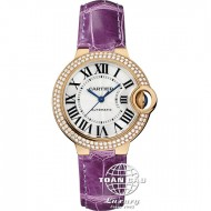 Cartier Ballon Bleu de Cartier Rose Gold with Diamond, Purple Alligator Pattern Strap WE902066