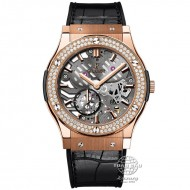 Hublot Classic Fusion Classico Ultra-thin Skeleton King Gold Diamonds 545.OX.0180.LR.1104