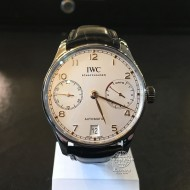 IWC Portuguese Stainless Steel White Dial, Rose Gold Hands and Numeral Hour IW500704